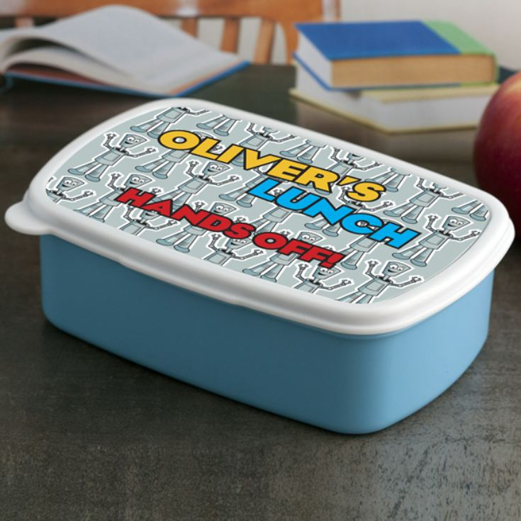 Personalised Hands Off Robot Lunch Box product image