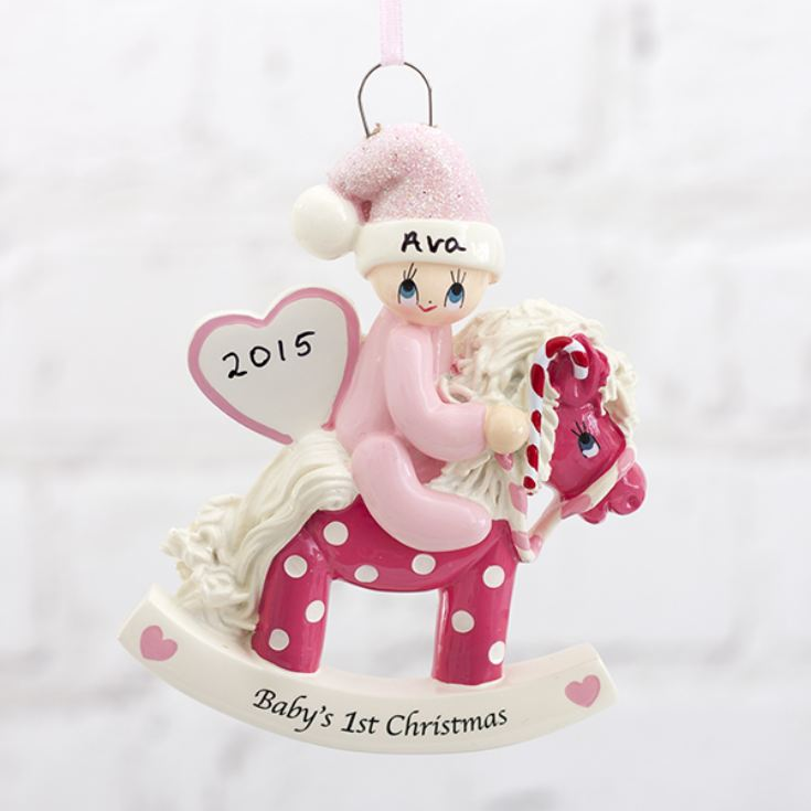 Personalised Baby's 1st Christmas Pink Rocking Horse Hanging Ornament product image