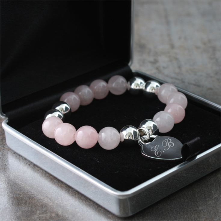 Rose Quartz Bracelet with Personalised Heart and Presentation Box product image