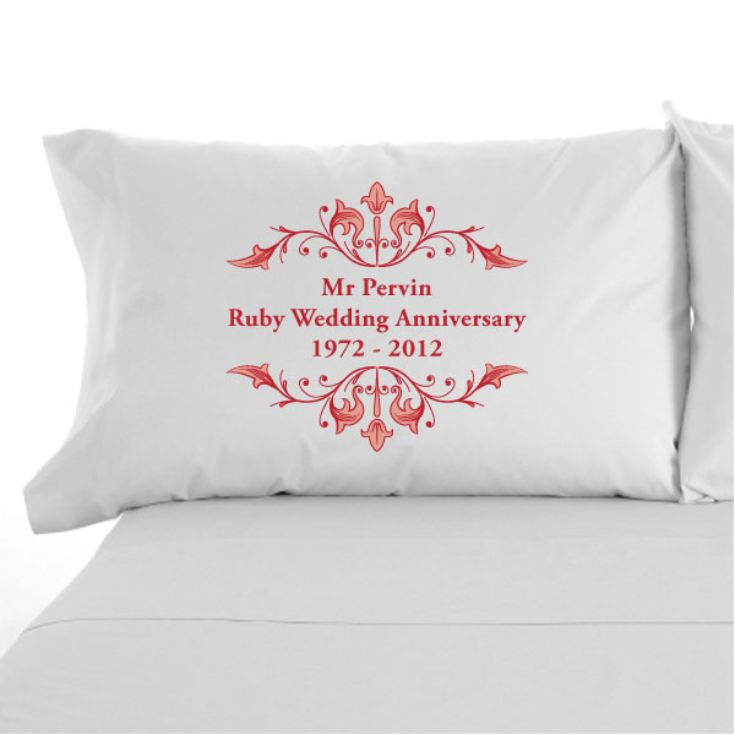 Personalised Ruby Anniversary Pillowcases product image