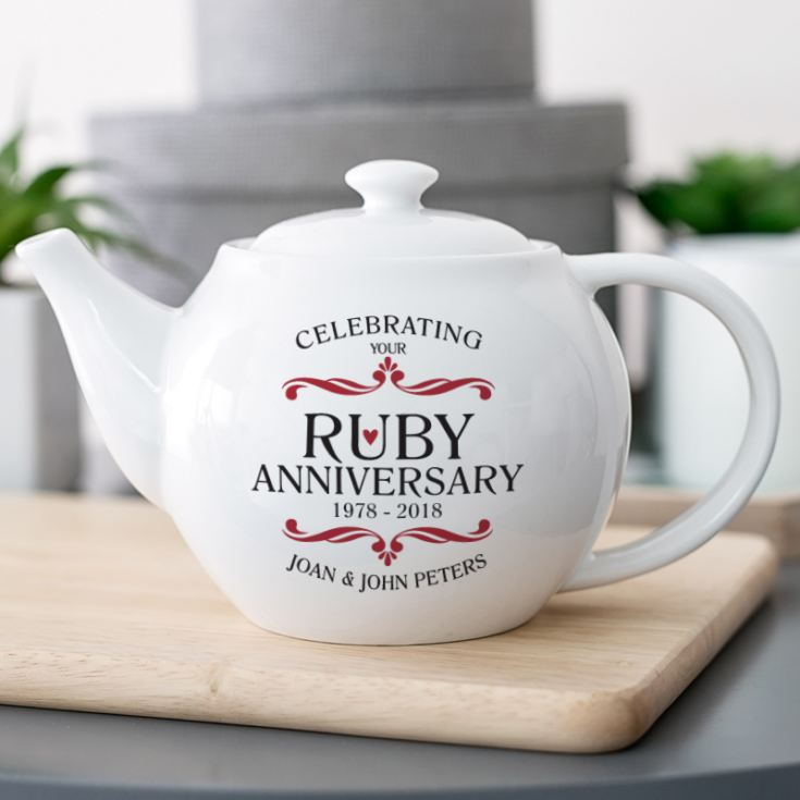 Personalised Ruby Wedding Anniversary Teapot product image
