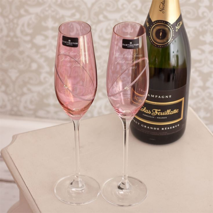 Dartington Crystal Personalised Pair of Ruby Flutes product image