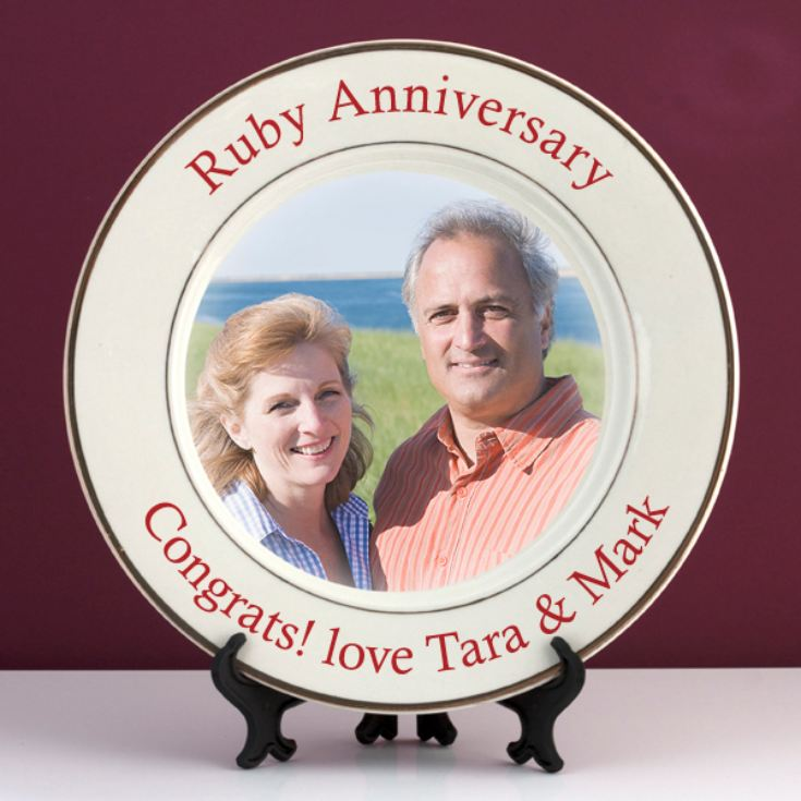 Personalised Ruby Wedding Anniversary Photo Plate product image
