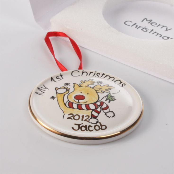 Personalised Rudolph Hanging Decoration in Presentation Card product image