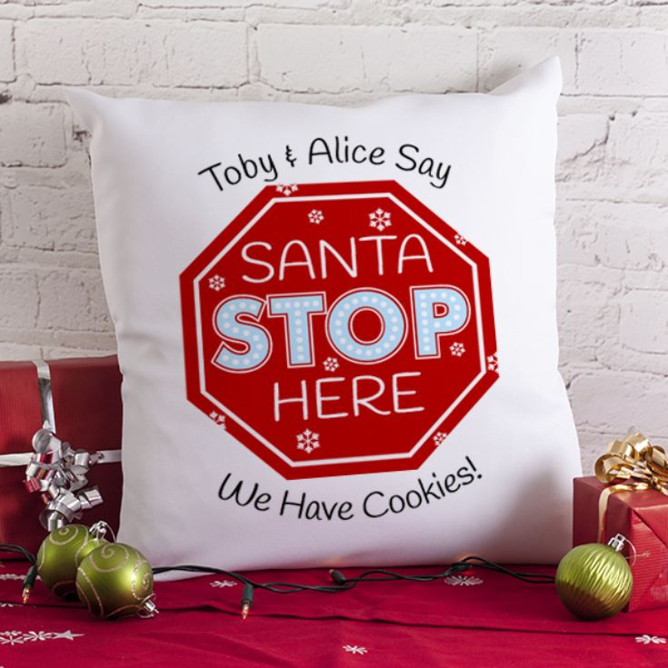 Personalised Santa Stop Here Cushion product image