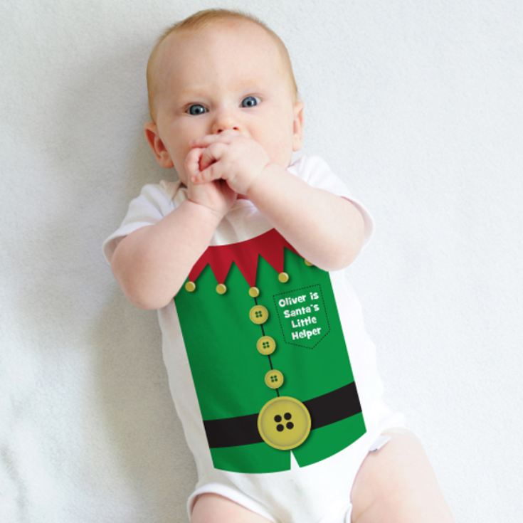 Personalised Santas Little Helper Baby Grow product image