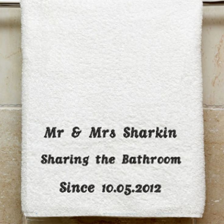 Personalised Embroidered Sharing the Bathroom Towel product image
