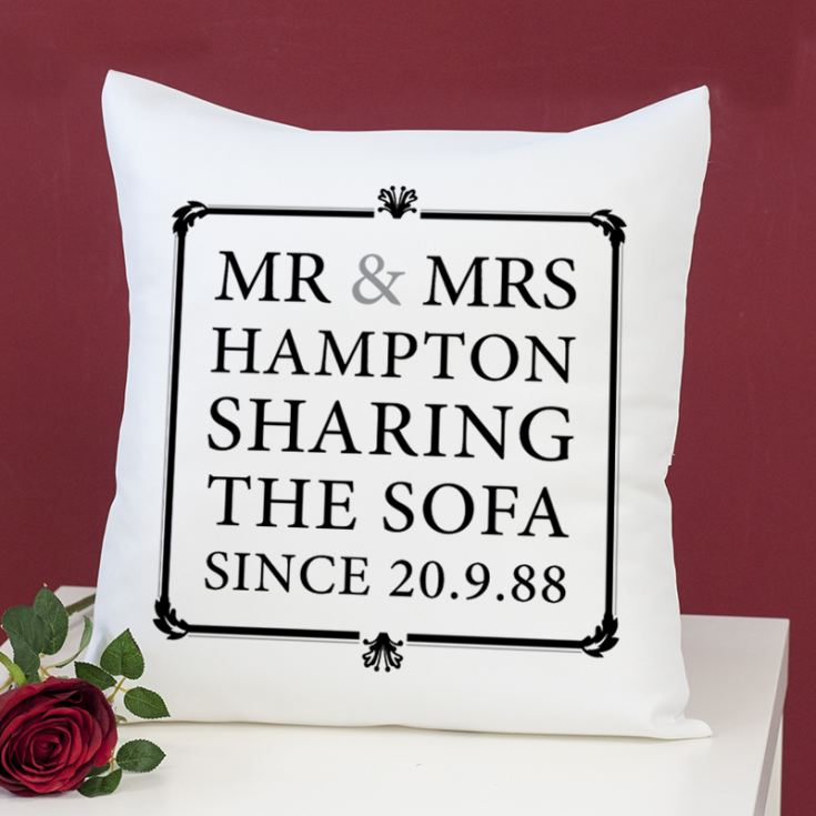 Mr & Mrs Sharing The Sofa Personalised Cushion product image
