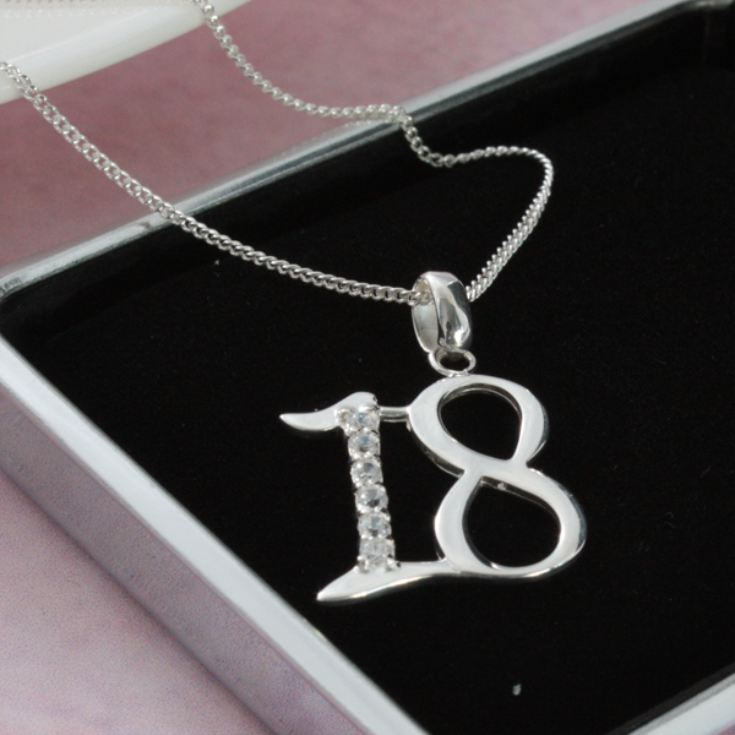 Solid Silver 18 Necklace in Personalised Box product image