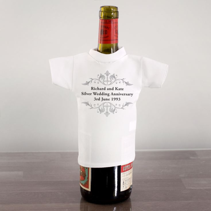 Personalised Silver Anniversary Wine Bottle T-Shirt product image