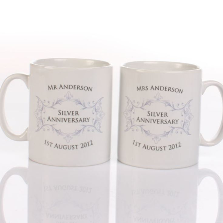 Pair of Personalised Silver Anniversary Mugs product image