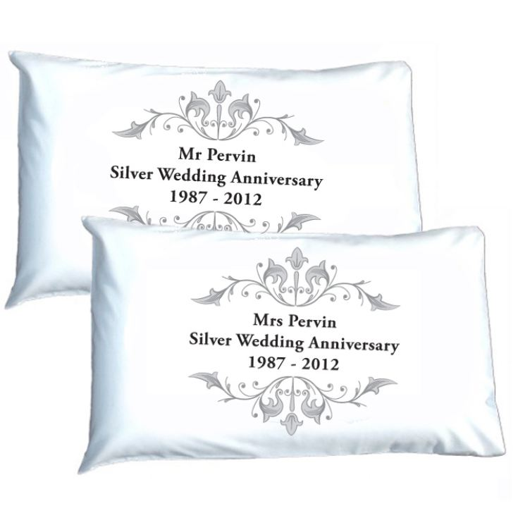 Personalised Silver Anniversary Pillowcases product image