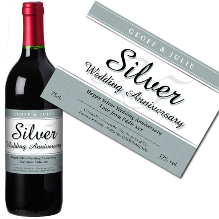 Personalised Silver Wedding Anniversary Red Wine product image