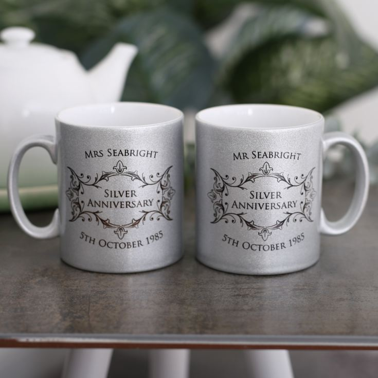 Personalised Pair Of Silver Anniversary Sparkly Mugs product image