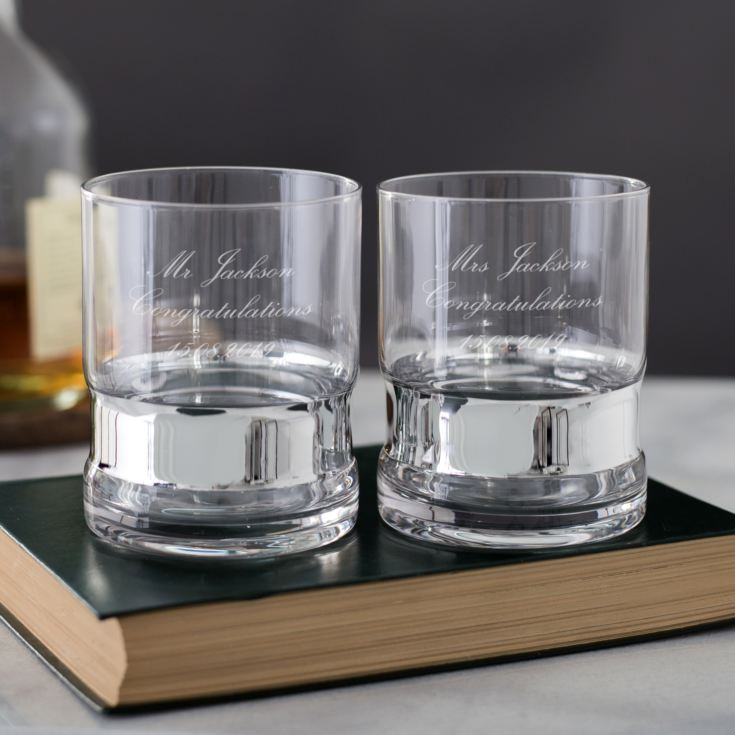 Pair Of Personalised Silver Band Glass Tumblers product image