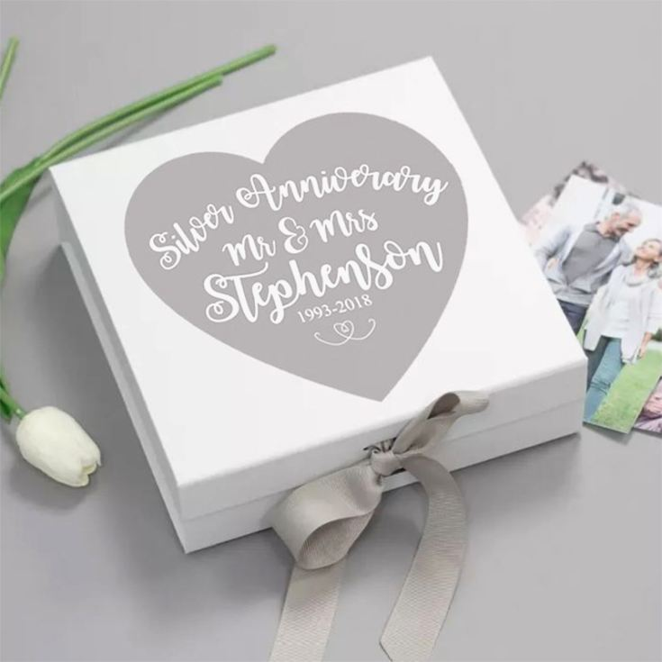 Personalised Silver Wedding Anniversary Memory Box product image