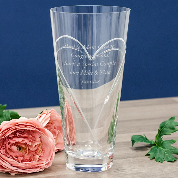 Personalised Diamante Conical Vase With Etched Heart Design product image