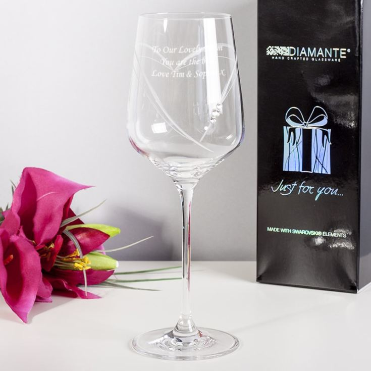 Personalised Just For You Diamante Wine Glass With Heart product image