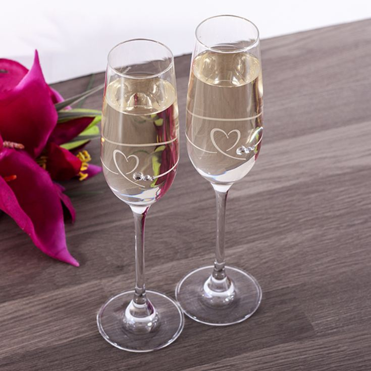 Pair Of Personalised Heart And Diamante Champagne Flutes product image