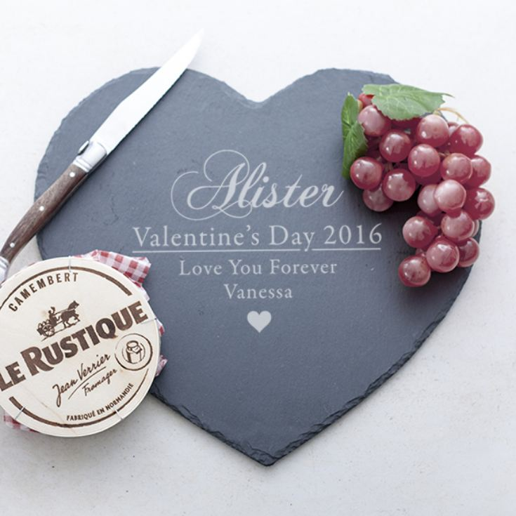 Personalised Valentine's Day Heart Shaped Slate Cheese Board product image
