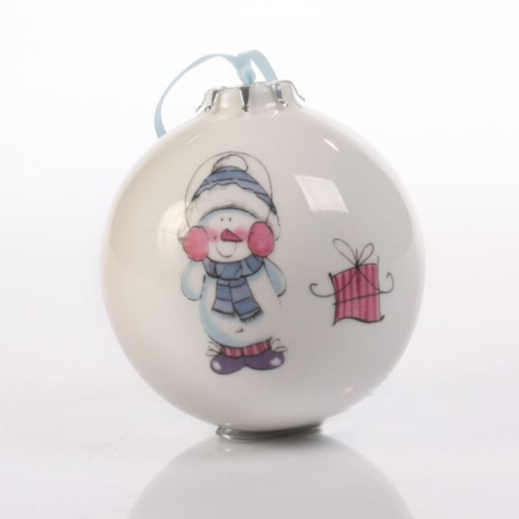Little Snowman Personalised Bauble product image