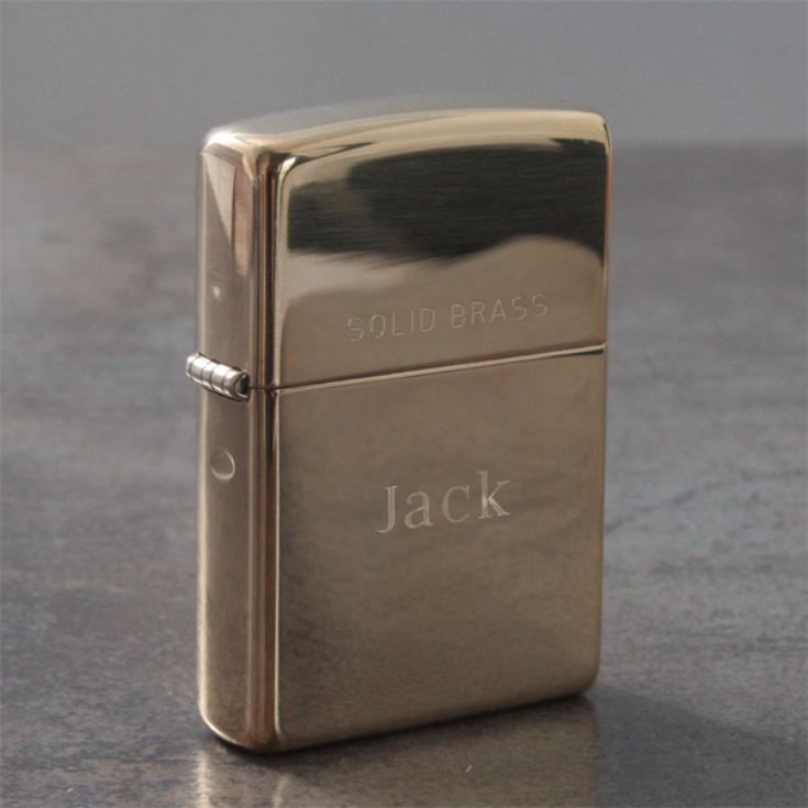 Personalised Solid Brass Zippo Lighter