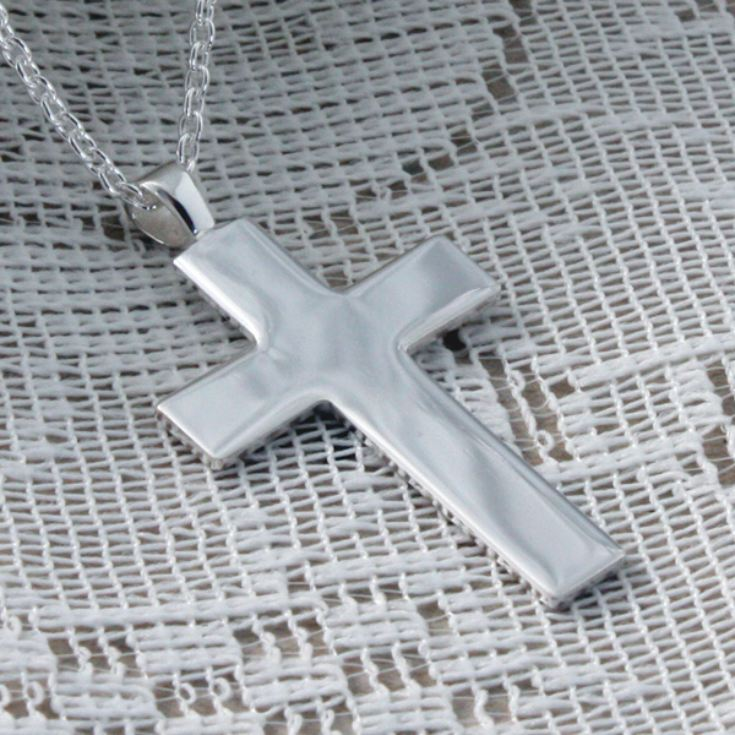 Large Solid Silver Cross Pendant in Personalised Box product image