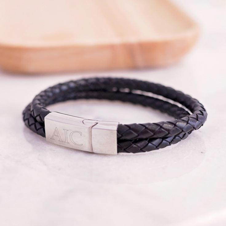 Personalised Gianni Leather Double Layer Men's Bracelet product image