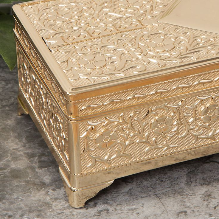 Engraved Gold Plated Antique Jewellery Box product image