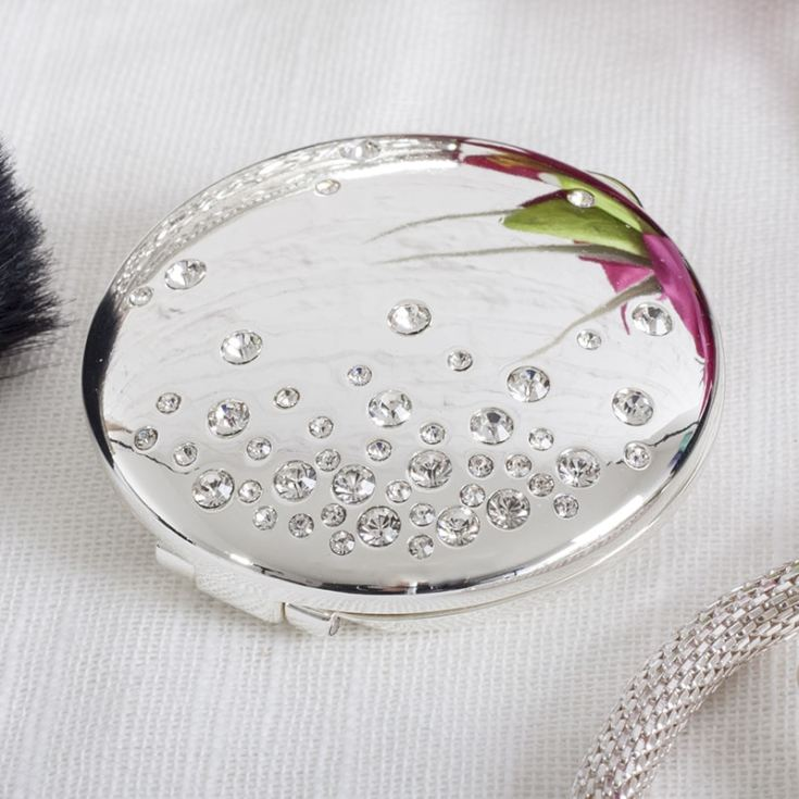 Engraved Sophia Silverplated And Crystal Compact Mirror product image