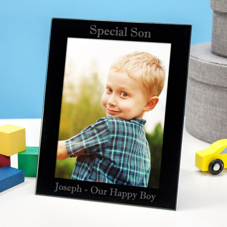 Personalised Special Son Black Glass Photo Frame product image