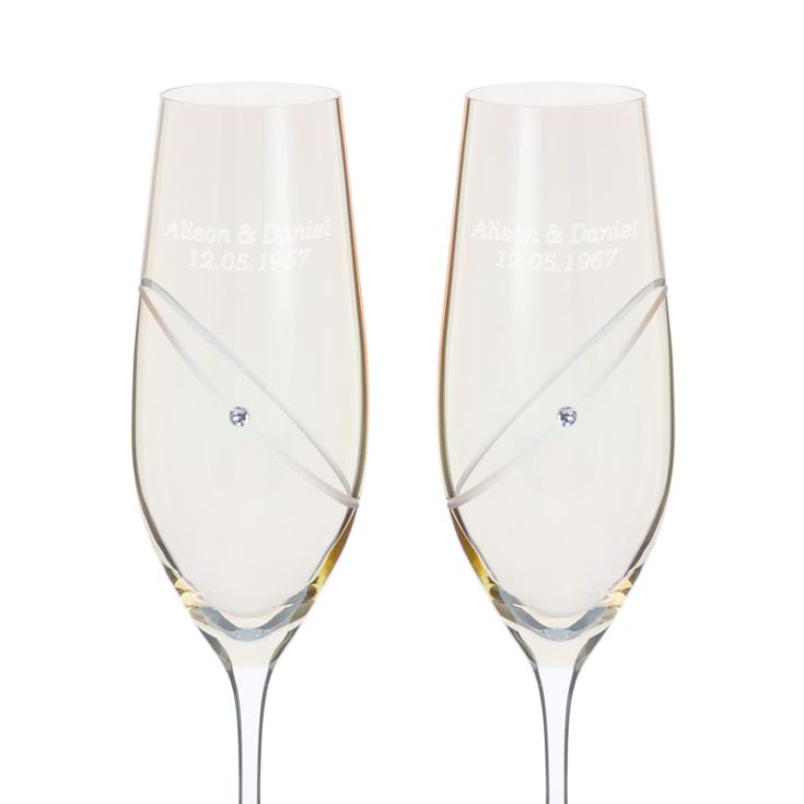 Pair of Personalised Dartington Crystal Gold Flutes product image