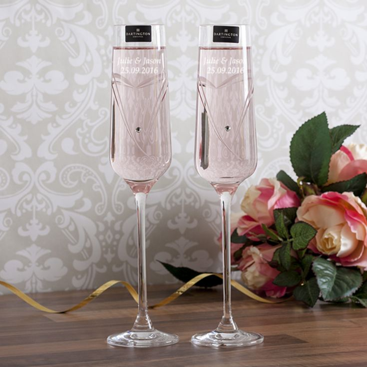 Personalised Dartington Crystal Glitz Romance Champagne Flutes product image
