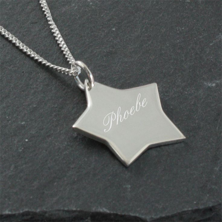 Solid Silver Star Pendant in Personalised Box product image