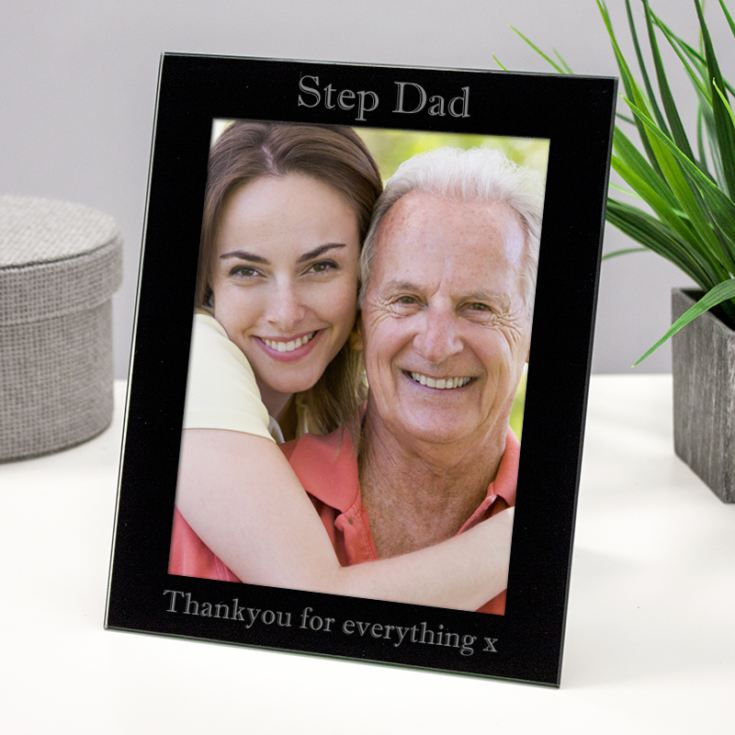 Personalised Step Dad Black Glass Photo Frame product image