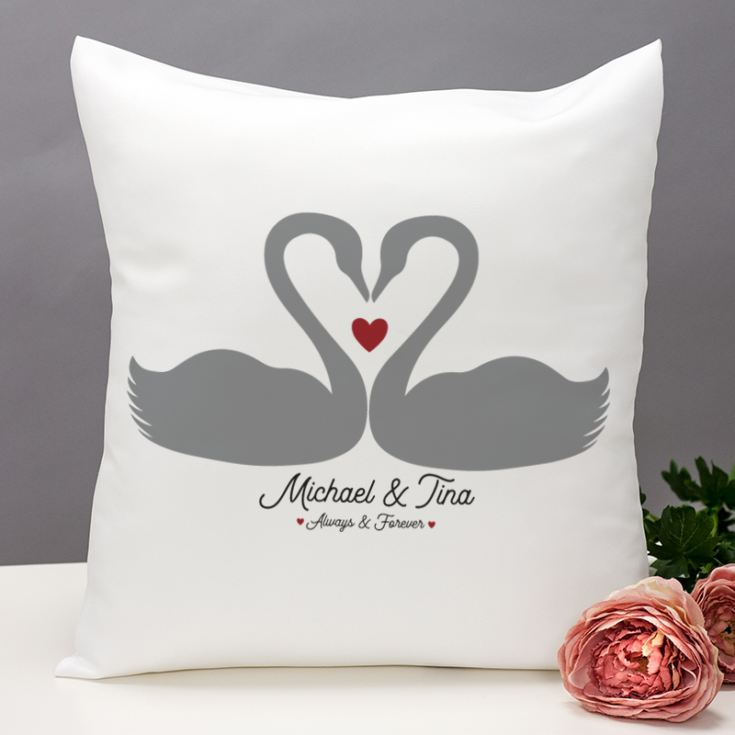Personalised Romantic Swans Cushion product image