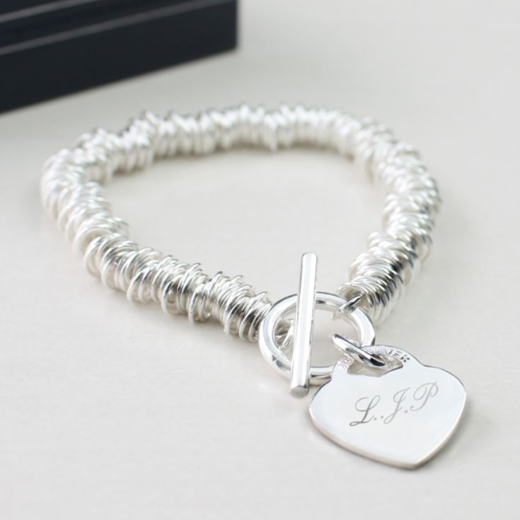 Solid Silver Heart and Rings Bracelet With Personalised Gift Box product image