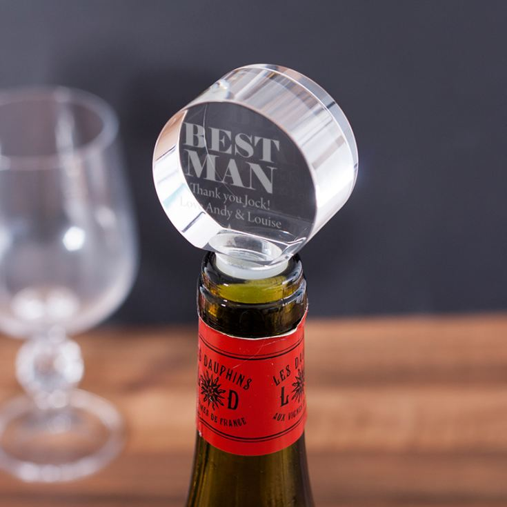 Personalised Best Man Optical Crystal Bottle Stopper product image
