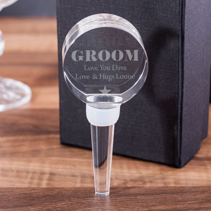 Personalised Groom Optical Crystal Bottle Stopper product image
