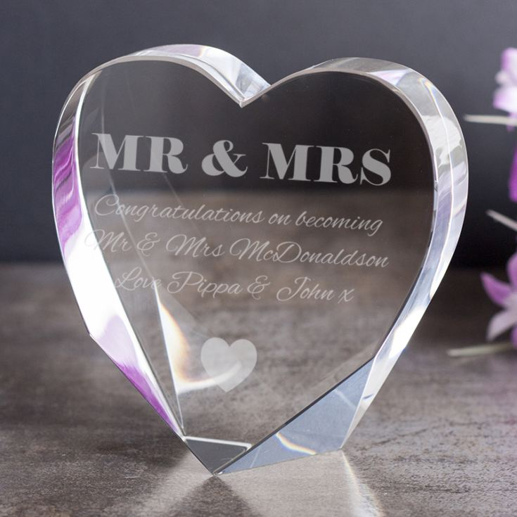 Personalised Mr & Mrs Stand Up Optical Crystal Heart product image