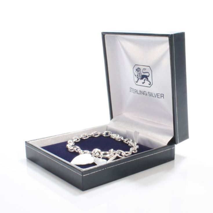 Sterling Silver T-Bar Heart Bracelet With Personalised Box product image