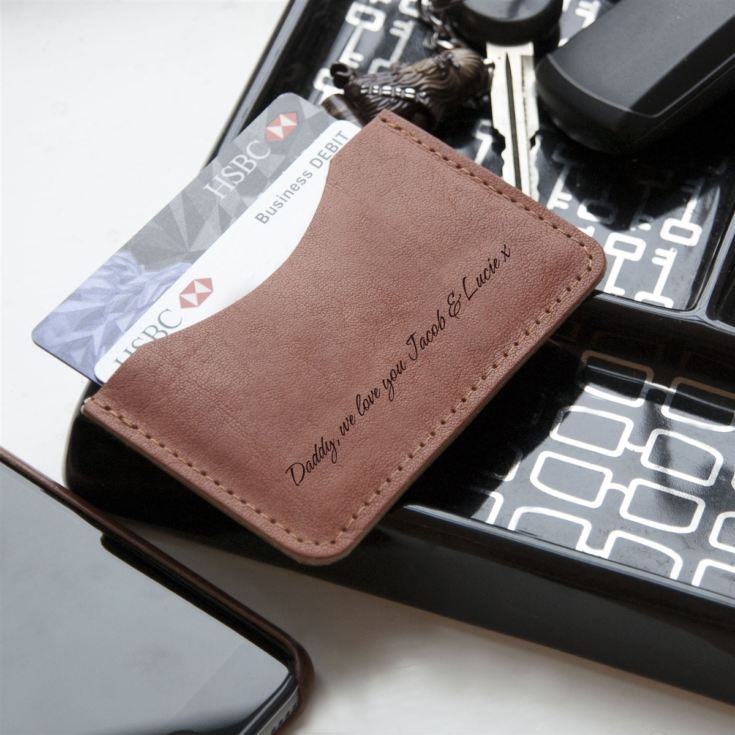 Personalised Tan Leather Single Pocket Wallet product image