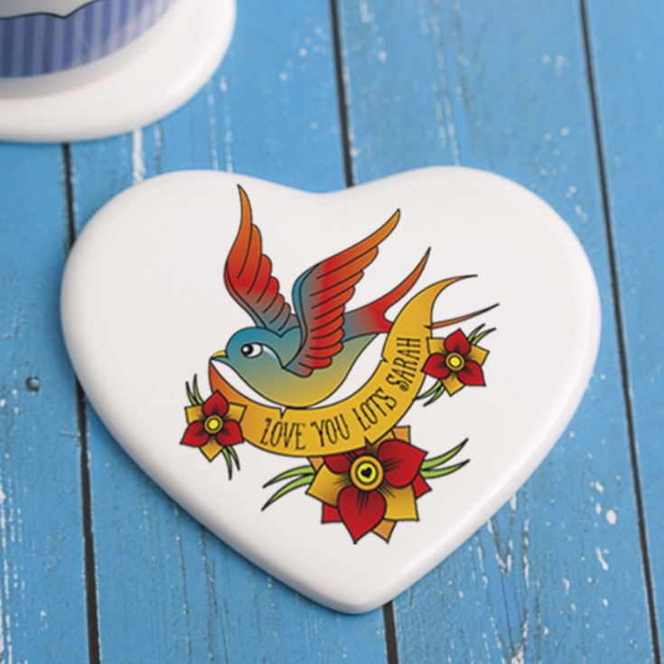 Personalised Tattoo Style Valentine's Day Ceramic Coaster product image