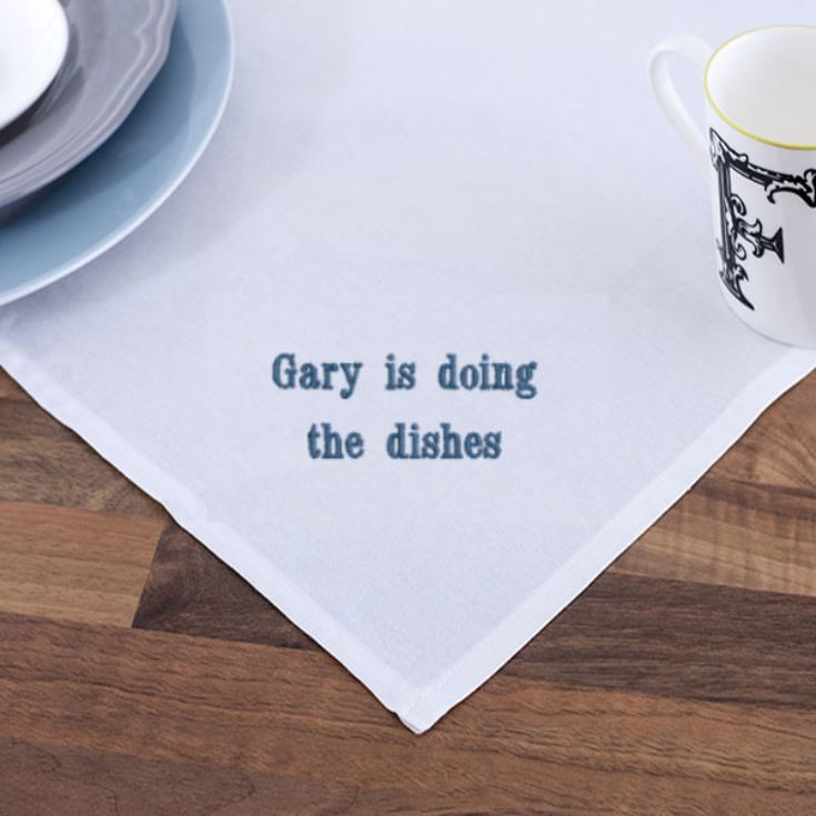 Personalised Embroidered White Tea Towel product image