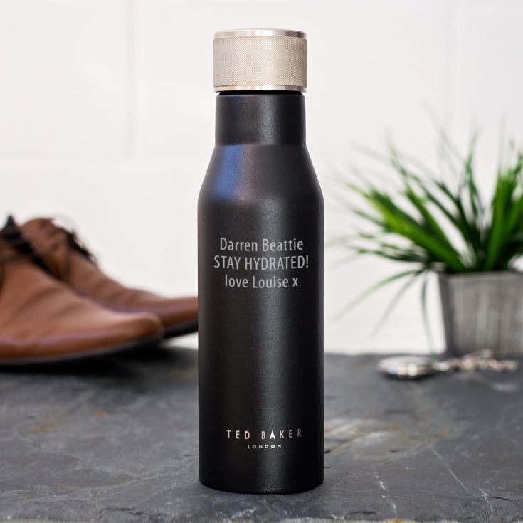 e1c1cbab047b Personalised Ted Baker Black Water Bottle