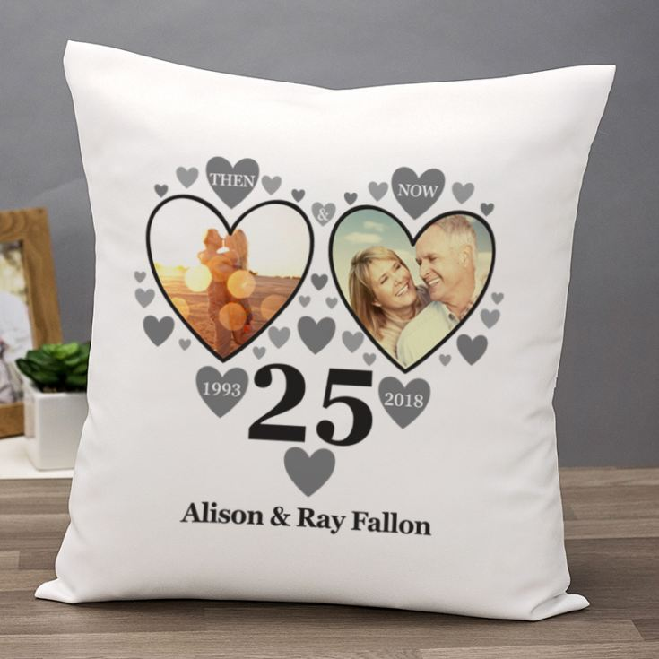 Personalised Then and Now Silver Anniversary Photo Cushion product image