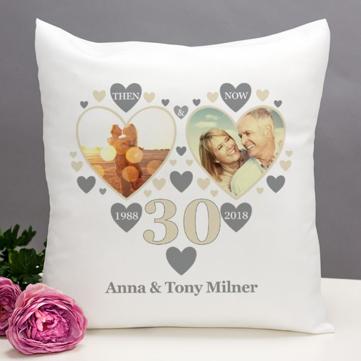 Personalised Then and Now Pearl Anniversary Photo Cushion product image