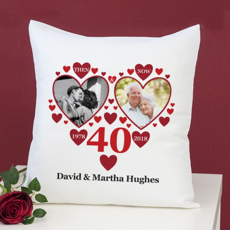 Personalised Then and Now Ruby Anniversary Photo Cushion product image