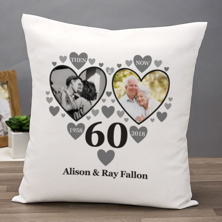 Personalised Then and Now Diamond Anniversary Photo Cushion product image