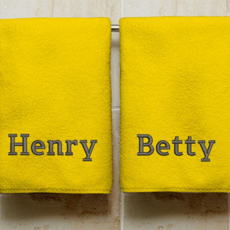 Personalised Embroidered His And Hers Golden Anniversary Towels product image